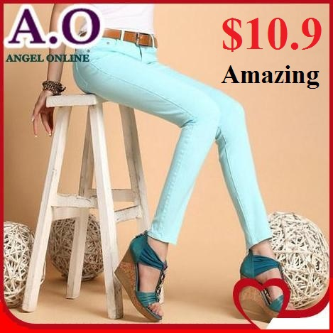 2014 spring summer 20 candy colors denim skinny jeans women plus size high stretch pencil pants - Excell Q. store