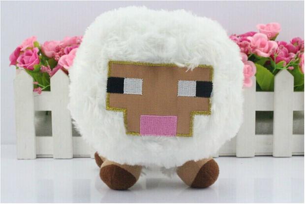 2015 Hot 16CM Minecraft Toys White Baby Sheep Plush toys Animal Plush dolls for Kids Birthday Presents(China (Mainland))