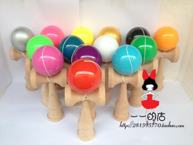 14 kinds of colors factory outlets  Boutique Traditional beech Wood Game Toy Kendama Ball  PU Paint 20piece tribute professional<br><br>Aliexpress