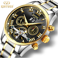 Business Calendar Mens Watch Automatic Mechanical Tourbillon Waterproof Watches Skeleton Gold Self Wind Stainless Steel Man