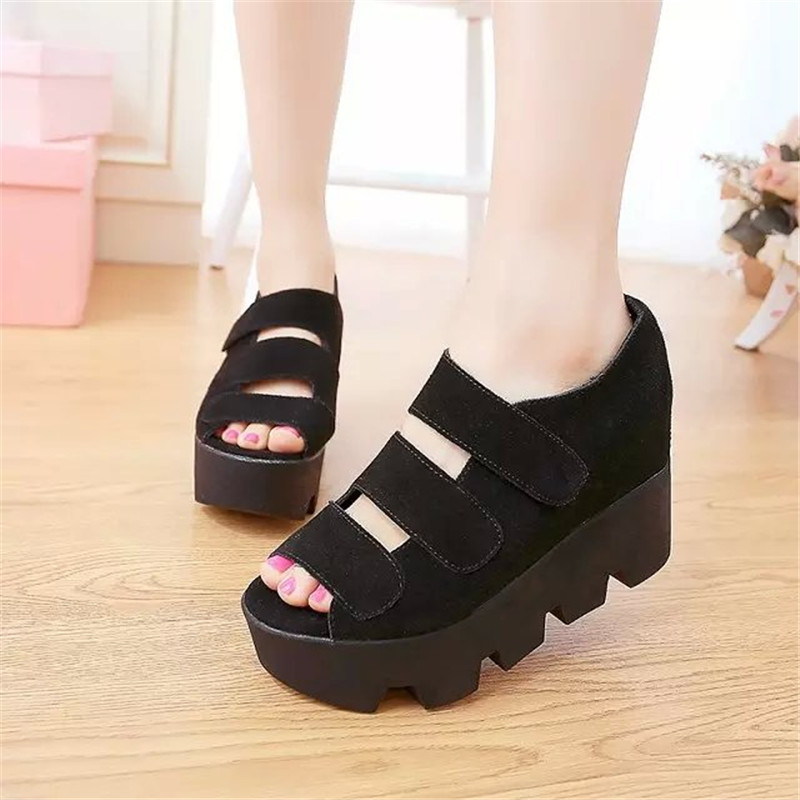 new brand korea style women shoes solid peep toe platform wedges cover heels hook loop casual dress pumps(China (Mainland))
