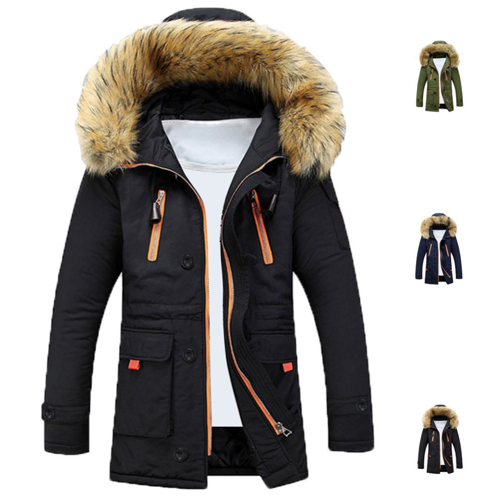 Mens Winter Fur Collar Lining Thick Parka Overcoat Padded Trench Jacket Coat