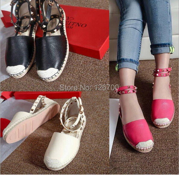 Europe/America Fan Women's Straw Rope Rivets Single Shoes Genuine Leather Sandals 3 Colors Size 35-40