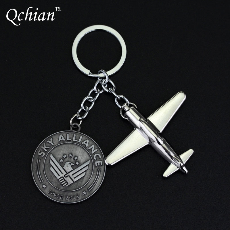 2017 US Airlines Model keychain Boeing Model Key Chain Round Coin Letter Sky Alliance Air Plane Aircrafe keychains Hot Sale(China (Mainland))