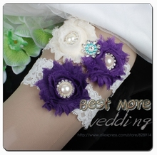 Fashion Wedding Garter Sets for Bridal Made Of  Ivory Shabby Flower and Purple Flower with Stretched Lace Trim Handmade