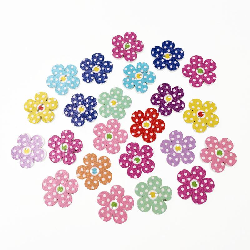 100Pcs Fashion Popular Bulk Mixed Wood Button Flower Sewing Accessories Decorative Buttons Handmade Scrapbooking Craft DIY 20mm(China (Mainland))