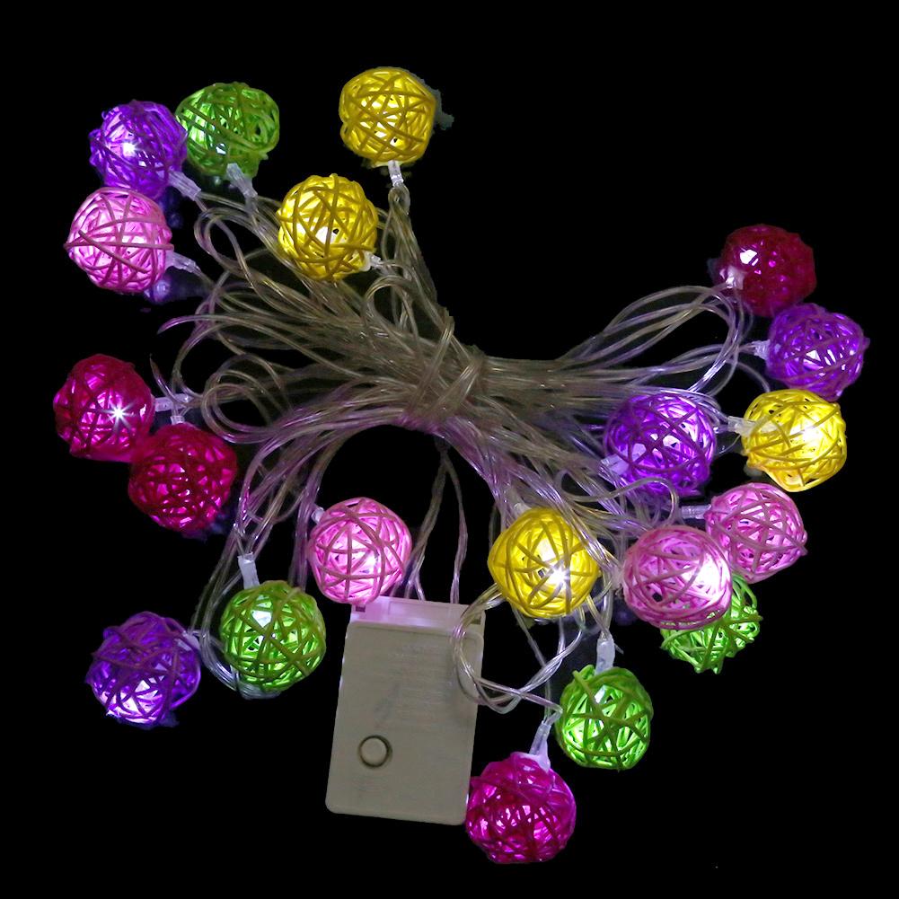 Multi Colour Rattan Ball LED Fairy Lights 20Light Wicker Cane for Christmas SGG#<br><br>Aliexpress