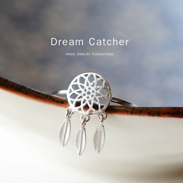 Bohemian Dream Catcher Pendant Ring Silver Plated Alloy Woman Chian Dreamcatcher Pendants Gifts for Indian