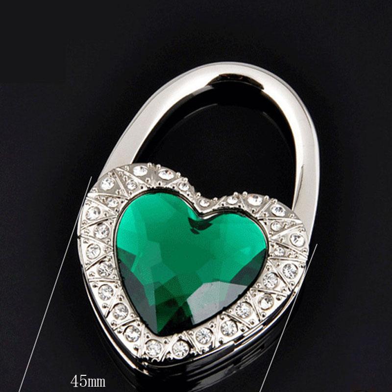 Christmas Gift Hot Women Folding Handbag Hanger Hook Bag Purse Holder Gift I Love You Green Heart Crystal(China (Mainland))