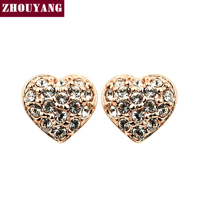 Top Quality Golden Heart  Rose Gold Plated Stud Earrings Jewelry   Austrian Crystal Wholesale ZYE011 ZYE012