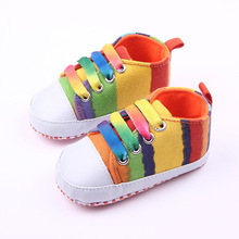 Kids Girls Boys First Walkers Ninas Newborn Infantil Striped Rainbow Baby Toddlers Zapatos Shoes Bebes Brand Children(China (Mainland))