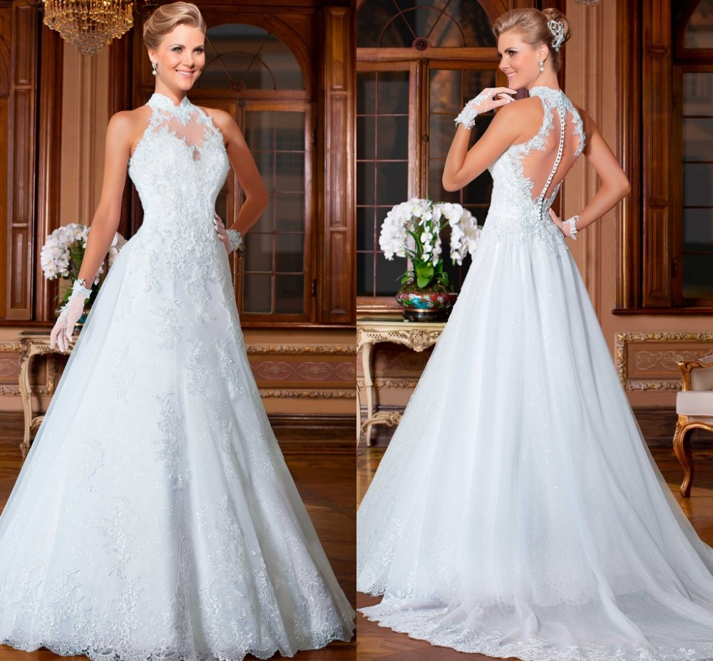Vestido de renda branco vestidos noivas princess halter for Aline halter wedding dresses