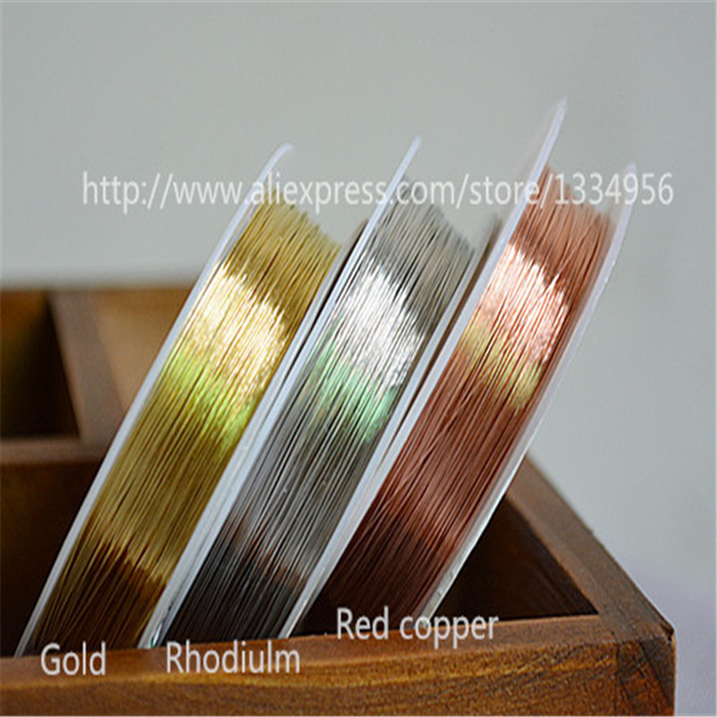 Free Shipping 1 Roll 0.3mm DIY Handmade bead jewelry accessories Thread rope molding Copper wire line 3 colors available(China (Mainland))