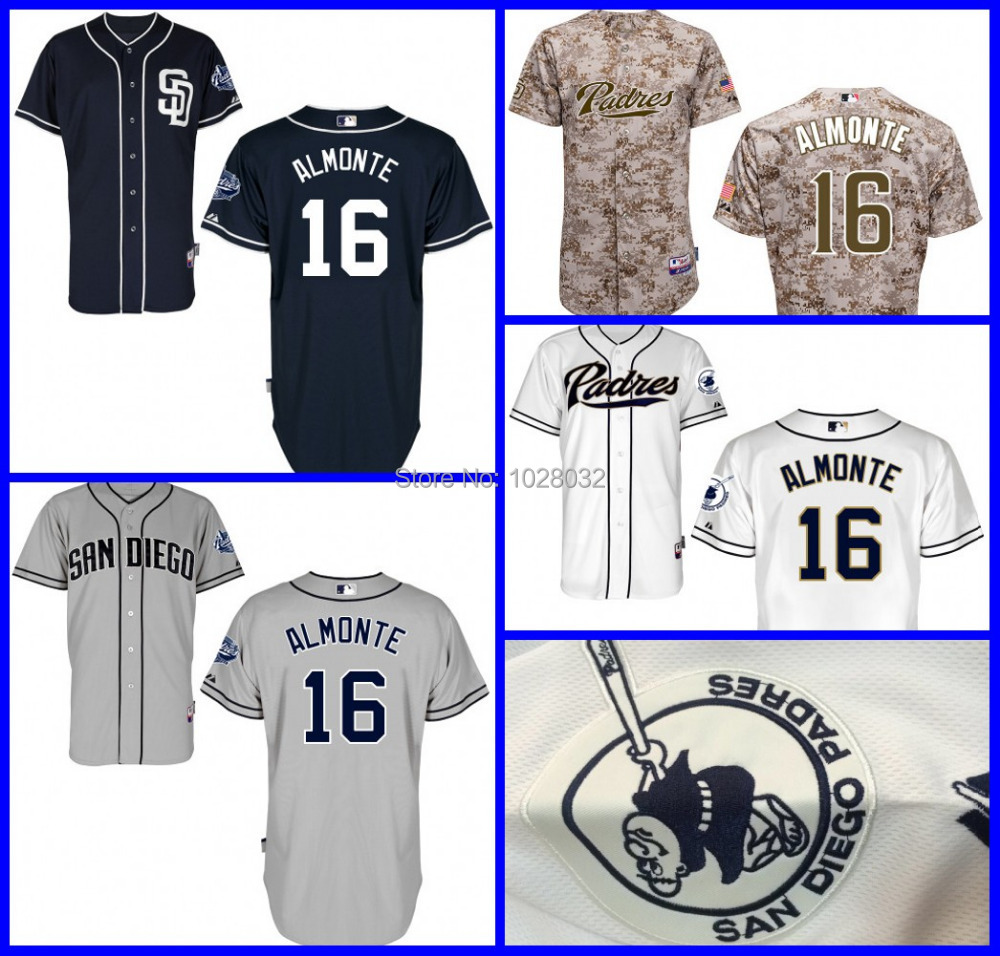 2015 New Authentic Baseball San Diego Padres Jersey #16 Abraham Almonte White Blue Gray Cool Base,Embroidery Logo,S~XXXL(China (Mainland))