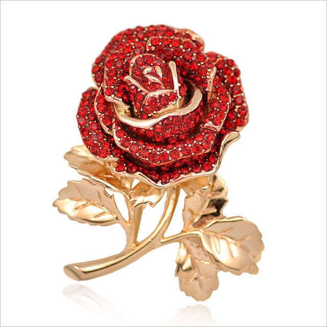 Fashionable Golden Tone Rose Flower Red Crystals Paved Brooches Female Collar Decorations
