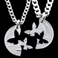 Custom Silver Initial Butterfly Pendant Necklace for Women 2014 HandCrafted Cut Quarter Interlocking Relationship Men Jewelry