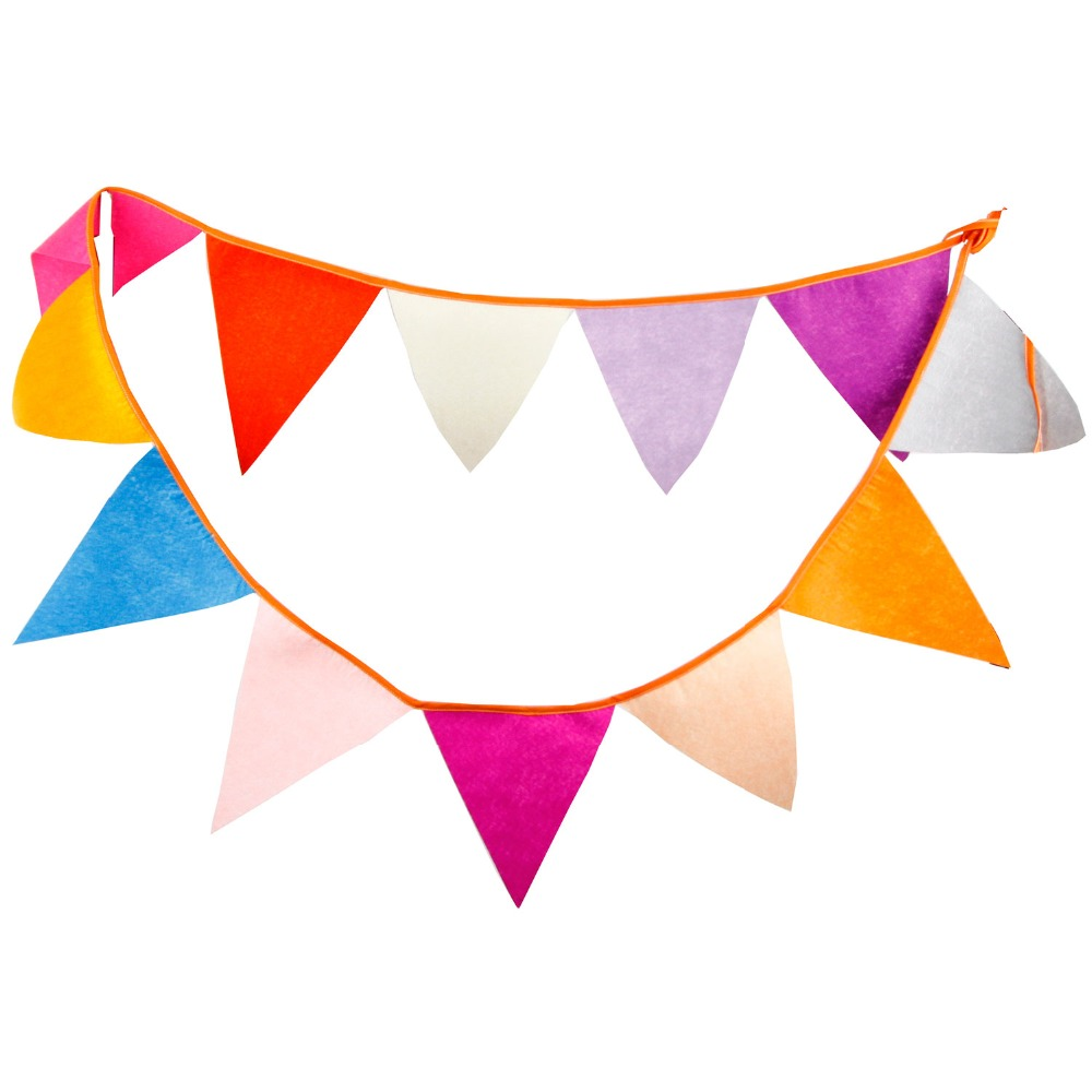 12Flags 3.2m Multi Colors Artificial Nonwoven Fabric Bunting Pennant Flag Banner Garland Wedding/Baby Shower DIY Party Supplies(China (Mainland))