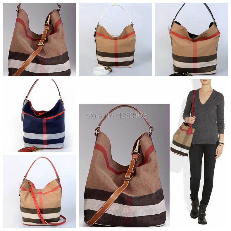 New 2014 Famous Brands Designers Women Medium Canvas Check Hobo Bag Genuine Leather Shoulder Bags Striped Bucket Handbag 5 color<br><br>Aliexpress