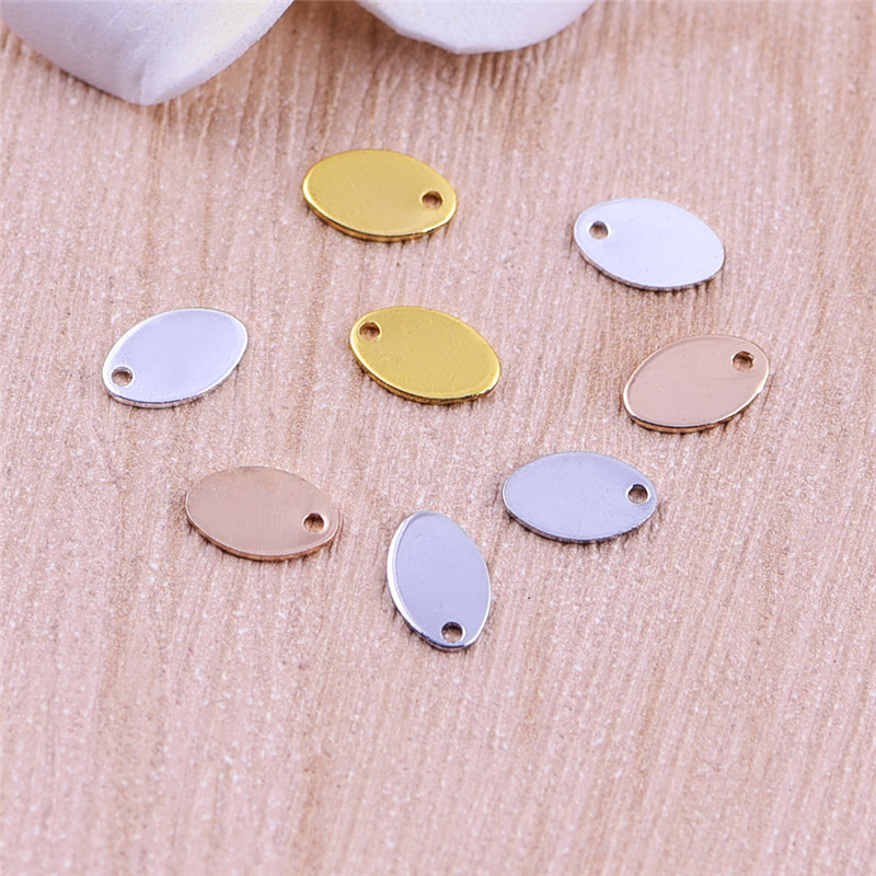 gold Oval sheet end beads stamp small charms ellipse tag beads not fade pendants copper 10pcs DIY jewelry accessories charms(China (Mainland))
