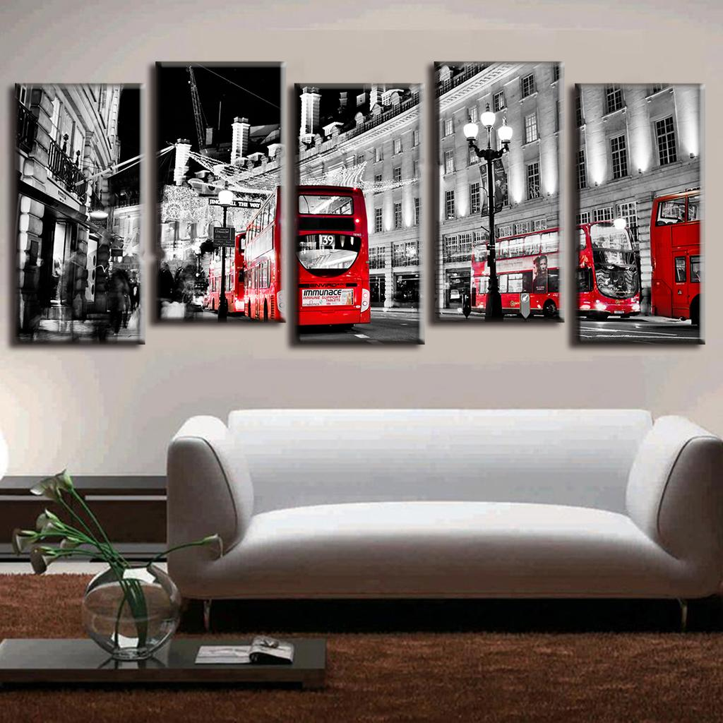Modern oil Canvas Painting Landscape Red Bus In Grey City LA5001(China (Mainland))