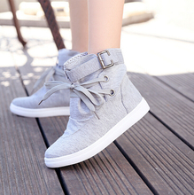 2015 new HOT Woman Autumn Boots Canvas Casual Flat Solid Sneakers Woman Ankle shoes Black and Grey Size 36-40 Q37(China (Mainland))