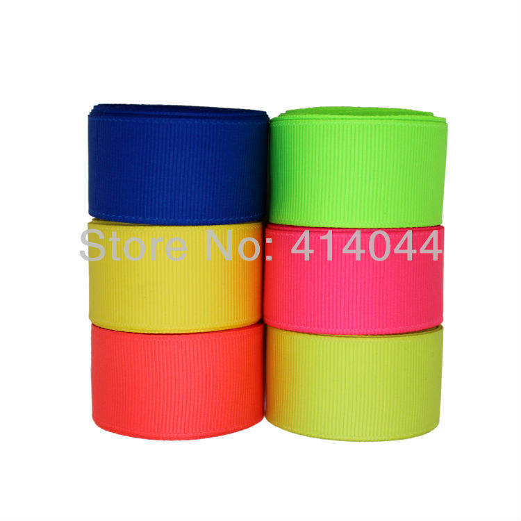 1 inch 25MM Neon Color Grosgrain Ribbon Lots ~ Neon Blue/ Yellow / Orange / Green / Pineapple ~ Free Shipping(China (Mainland))