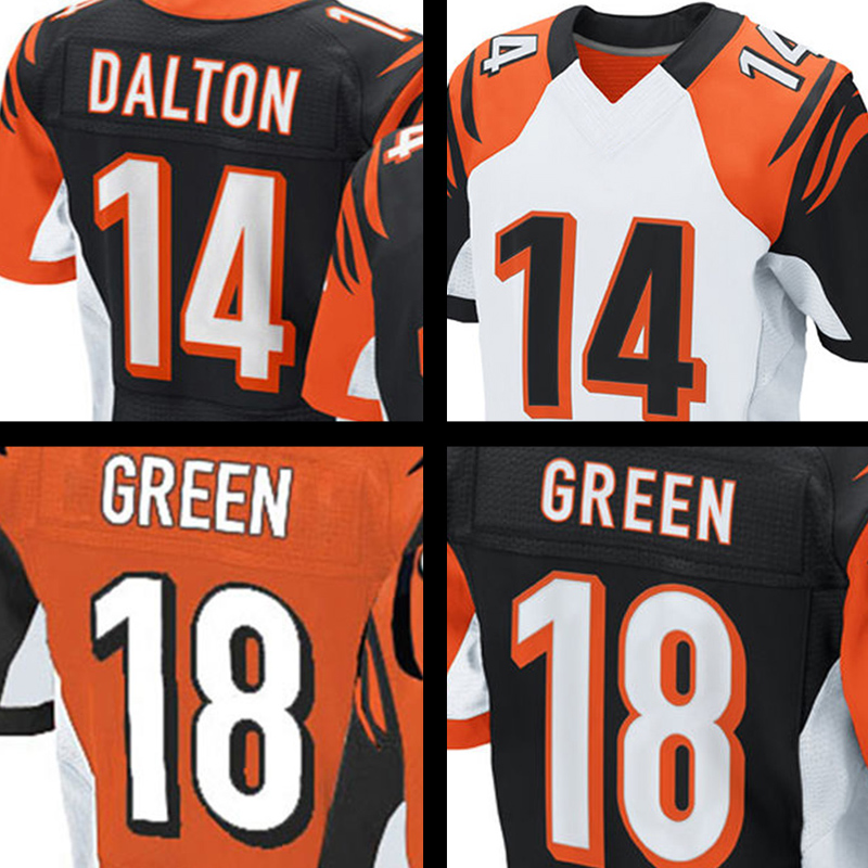 Mens #18 AJ Green #14 Andy Dalton Orange Black Elite jersey 100% Stitched Logos Free shipping(China (Mainland))