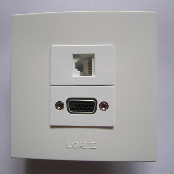 Modern Design White Panel 86mm Socket RJ45 VGA PC Easy Directly Connect Outlet For Home Hotel Building Free Shipping(China (Mainland))