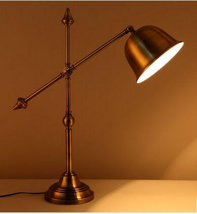 Home lighting furnishing antique brass iron art desk lamp adjustable lampshade retro decoration light bedroom bedside study<br><br>Aliexpress