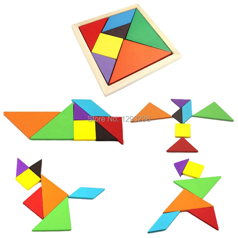1pc/Lot Wholesale Wooden Tangram 7 Jigsaw Puzzle I.Q. Game Brain Teaser Intelligent Toy Kid's Educational Toys Gift FZ1693 6Q27(China (Mainland))