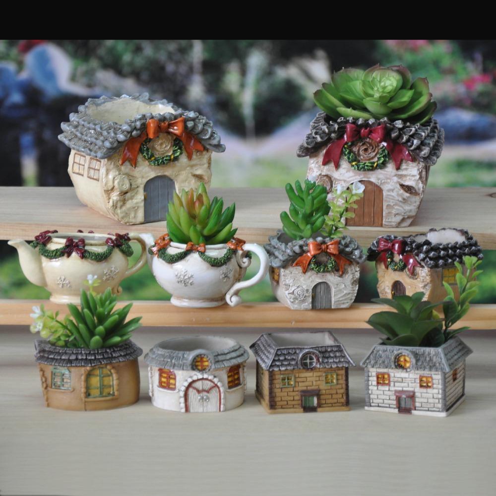 Garden Decoration Mini Resin Flower pot de fleur Personalized Microcosmic artesanato Flowerpot(China (Mainland))