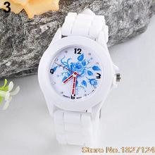 2015 Popular StyleNewest Women's Geneva Flowers Printed White Silicone Band Analog Quartz Wrist Watch
