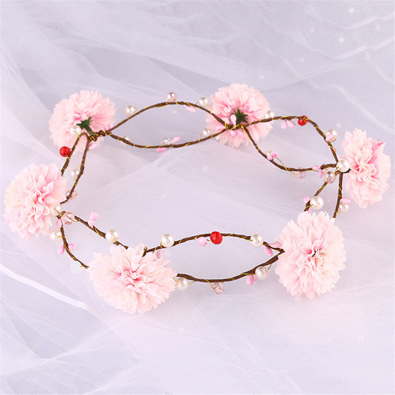 Pearl Simulation Flower Decorated Headbands Boho Bridal Hair Vine Woodland Wedding Hair Accessories Halo Flower Crown Para Noiva(China (Mainland))
