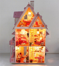 Doll house with furniture Handmade wooden house diy birthday gifts 3D puzzles for adults and lovers dream house children(China (Mainland))