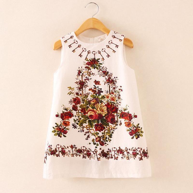 2016 Baby Girl Tank Dress Floral Vintage Floral Dress Kids Summer Children Clothing Estidos Infantis 7002(China (Mainland))