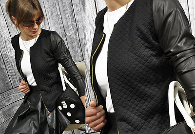 2015 Black White Colors Fashion New Slim Ladies Women Suit Coat Jacket Zipper womens winter jackets