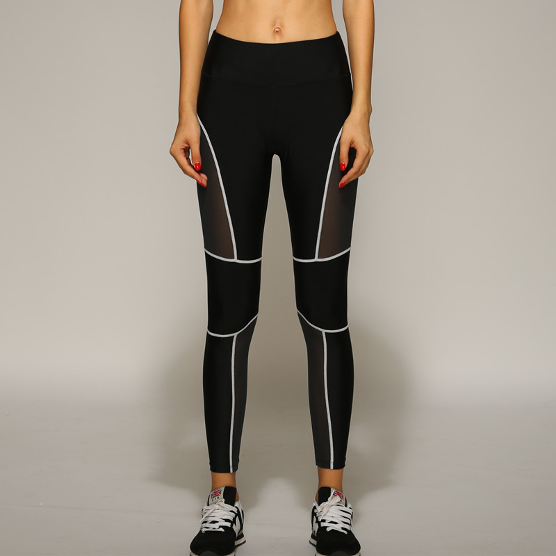 Women Sports Leggings Fitness Gym Running Breathable Pants Lady Mesh Fabric Patchwork Workout Leggings Free Shipping(China (Mainland))