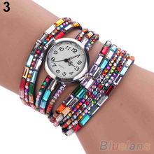 Woman Exotic Multi Layers Colorful Beads Crystals Quartz Bracelet Wrist Watch 28E7