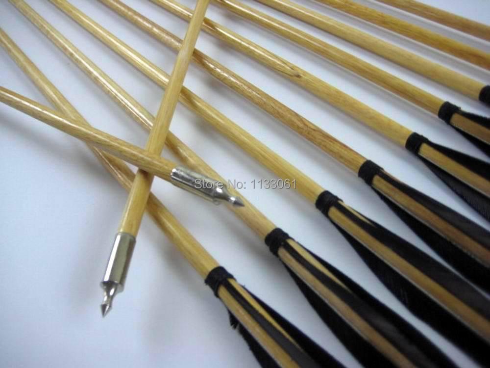 12X 32inch Black Flame Wood Arrows Archery Shooting Target Practice