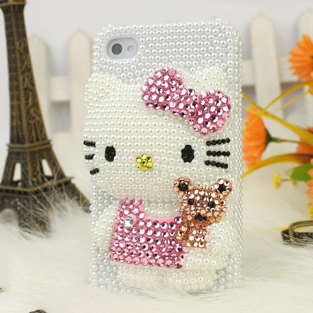 Free shipping/New Fashion Bling Crystal Rhinestone Hard Cover Case for iphone4/4S pearl HelloKitty Pink  hot Sell Christmas gift