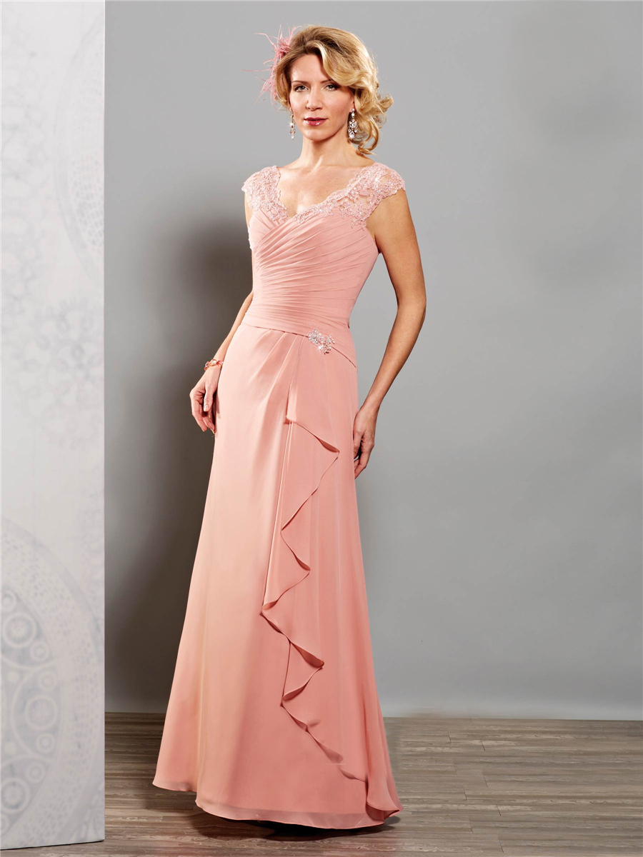 Modest elegant pink plus size mother of the bride groom for Wedding dresses for mother of bride