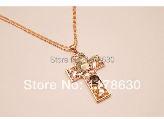 free shipping hot sale colorful cross crystal necklace & pendant to suit for man retail and wholesale N0037 lowest price(China (Mainland))
