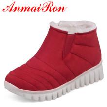 ANMAIRON Slip-on Invierno Botas de Nieve Caliente Zapatos de Mujer de Tacón Bajo cuñas Botas de Plataforma Botines para Las Mujeres Sexy Negro Rojo zapatos(China (Mainland))