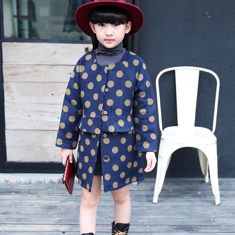 Детская одежда девочек , шерстяные верхняя одежда осень ребенок средней длины однобортный утолщение шерстяное пальто