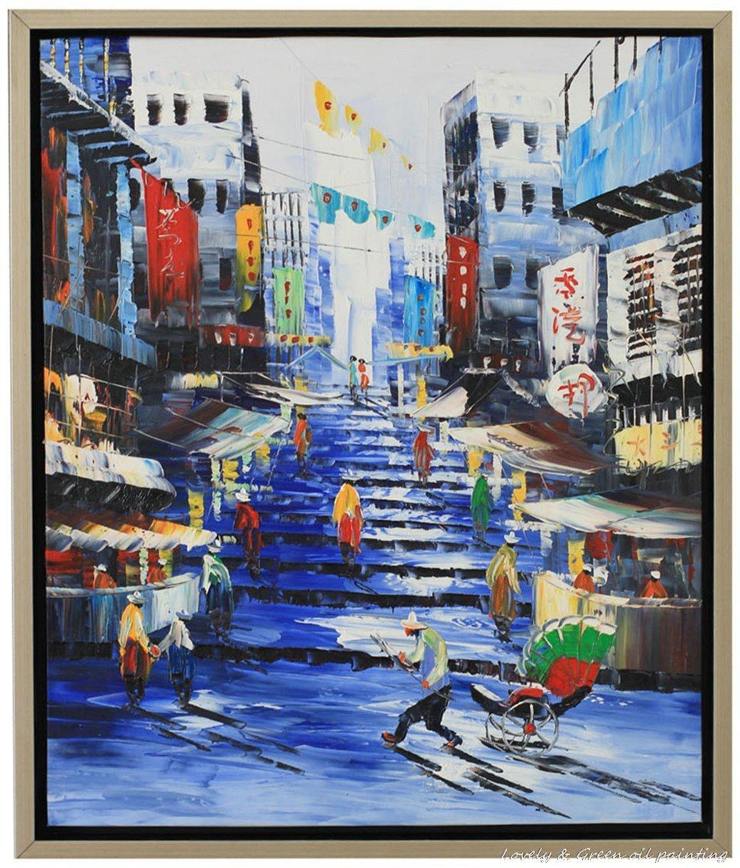 Decorative Art Handmade Oil Painting On Canvas Living Room Home Decor Wall Paintings Impression Hong Kong Landscape Pictures(China (Mainland))