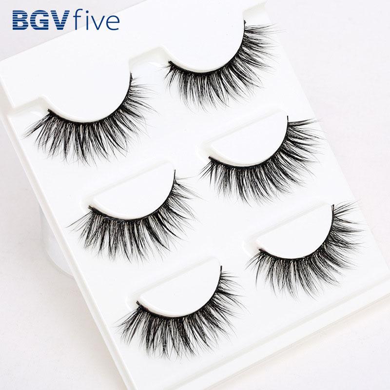 Support wholesale 3 Pair 3D Natural Bushy Cross False Eyelashes Mink Hair Eye Lashes Black(China (Mainland))