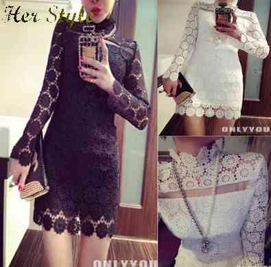 Free Shipping new 2015 temperament ladies sexy elegant slim hollow Court bag hip make lace dress 1430922253(China (Mainland))