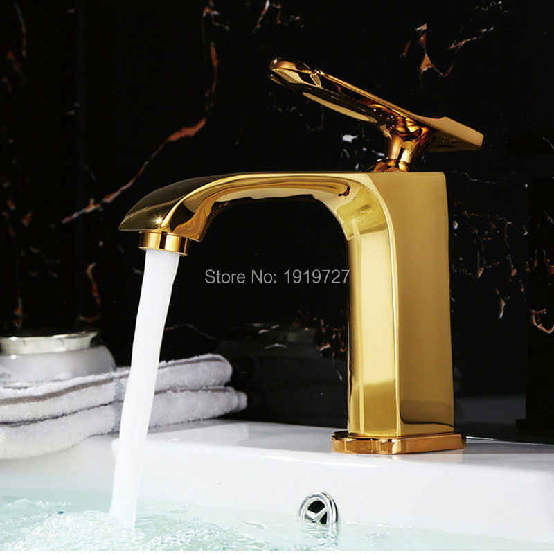 2016 Wholesale Newly 100% Brass Modern Style Design Gold Or Chrome Or Black Single Handle Single Hole Bathroom Vessel Faucet(China (Mainland))