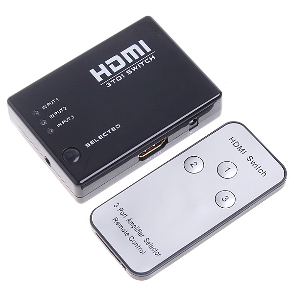 1PCS 3 Port 1080P Video HDMI Switch Converter HDMI Switcher HDMI Splitter with IR Remote For HDTV PS3 DVD(China (Mainland))