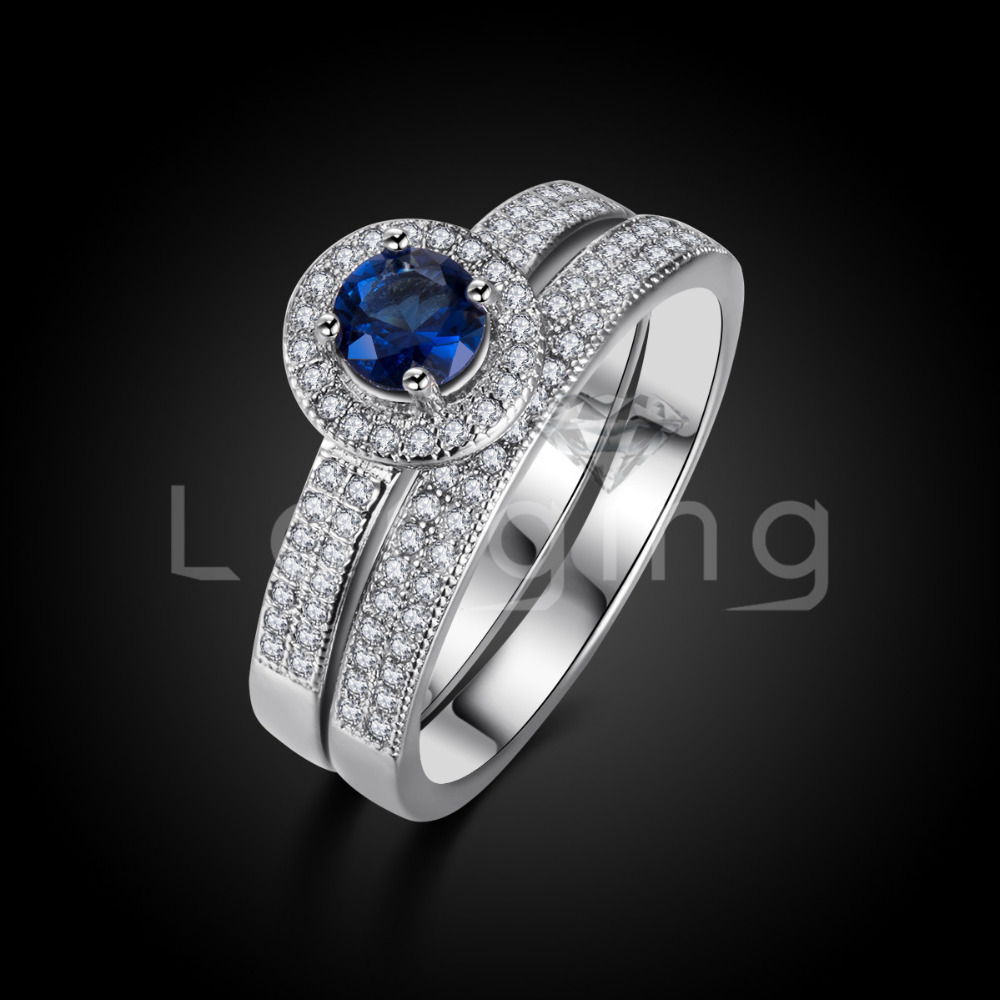 Longing S925 Jewelry Sapphire Rings Set white gold plated Round Bague for Women Bijouterie Wedding engagement Accessories LSR007(China (Mainland))